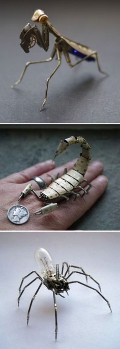 Tiny steampunk insects made with watch parts.