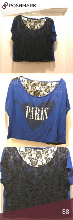 """Blue & Black lace Crop top This adorable Blue and Black Lace Crop top with no damages. Front of shirt has """"Paris"""" wrote on top of a black heart. Pine Tops Crop Tops"""