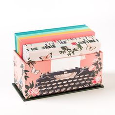 A vintage typewriter is featured with four designs to choose from, each surrounded by a lovely nature scene. Share with friends or family for any occasion.