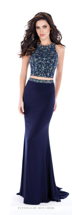 Formal Evening Gowns by Mon Cheri - Fall 2016 - Style No. MCE21626 - two-piece navy blue evening dress with beaded crop top and jersey fit and flare skirt