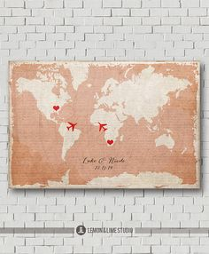 Unique Wedding Guest Book - Vintage World Map - Wedding Poster -Wedding Art Print - Wedding Map - Destination Wedding - Love Map - Keepsake