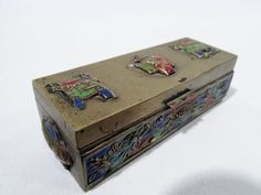 Old CHINESE Cloisonne BRASS ENAMEL Petite Trinket Stamp BOX