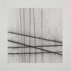 Fiona Robinson, 'Die Profundis'. Charcoal, pencil, chalk and wax on paper. These works are related to music; the lines originate from daily drawings of the subtle change in colour delineating the point at which sea and sky meet, horizon lines which gradually developed their own autonomy as they became more and more vertical. Click on the image to see original source.