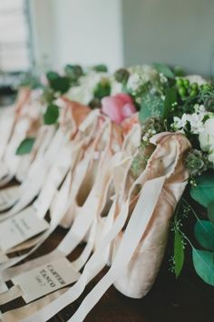 Ballet Shoe Escort Card Table | photography by www.sarahmckenzie... | design and coordination by facebook.com/...