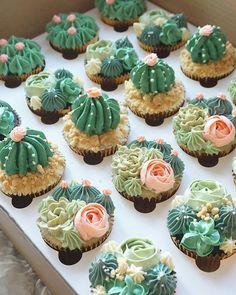 Cactus Cupcakes, Succulent Cupcakes, Cactus Cake, Floral Cupcakes, Birthday Cake Decorating, Cookie Decorating, Cupcake Recipes, Cupcake Cakes, Number Cakes