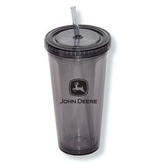 John Deere 24 oz. Double Walled Cup with Straw