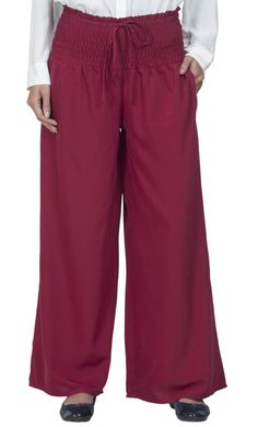#Kilam - #EastEssence Modest Maroon Crepe palazzo Pants - AdoreWe.com