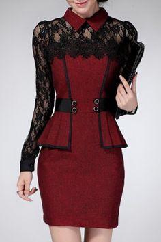 Chic Flat Collar Long Sleeve Lace Design Flounced Women's Dress