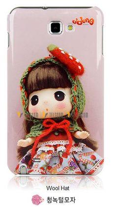 Galaxy Note DDung Cute Korean Doll Hard Case Wool Hat
