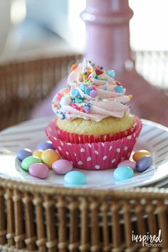 Surprise-Inspired Spring Cupcakes - cupcake dessert recipe for Spring and Easter #surpriseinside #spring #easter #cupcake #dessert #recipe #cake Cupcake Recipes, Cupcake Cakes, Dessert Recipes, Classic Cupcake Recipe, Delicious Desserts, Yummy Food, Tasty, Spring Cupcakes, Filled Cupcakes