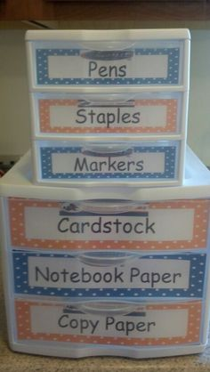 Classroom supplies organization