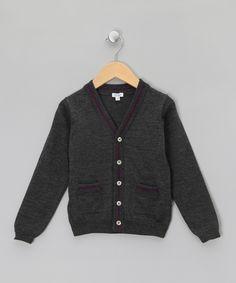 Grey & Grape Merino Wool V-Neck Cardigan - Toddler & Boys by Miller