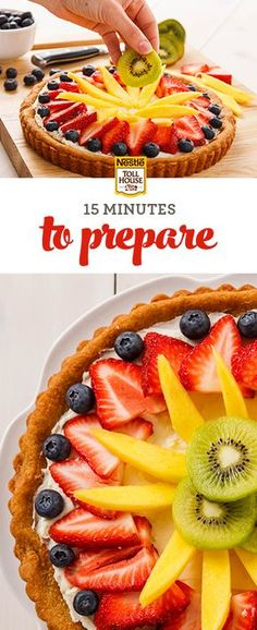 This classic dessert is easier than you think. Made with a sugar cookie crust, a layer of cream cheese and topped with fresh fruit, it has a prep time of just 15 minutes. Who knows—it may even become your new go-to dessert for every upcoming party! Find out how to make this easy Spring Fruit Tart from Nestlé Toll House.