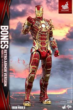 """As part of Tony Stark's House Party Prototcol, the Skeleton Suit, Bones, is a unique sight to behold with its distinctive appearance of thin armor plating and internal mechanical contents exposed. Created with speed and maneuverability in mind, Bones has the special function to split its armor pieces and fly separately, making it the most versatile armor of suit on the bunch.   Today Hot Toys is extending the special """"Retro Armor""""-inspired take on this Skeleton Suit by giving it the classic…"""