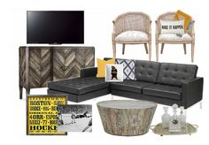 Check out this moodboard created on @olioboard: BostonBruins ManCave by teraluadesigns
