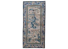 12 x 24 in ( 29.7 x 62.3 cm ) Antique Chinese Silk Hand Embroidery Tapestry