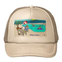 TRADEMARKED WORKING VACATION HAT BY LBI APPAREL, LLC: GO TO WWW.LBIAPPAREL.COM AND FOLLOW LINK TO OUR ZAZZLE STORE.  ZAZZLE WILL ALLOW YOU TO CUSTOMIZE YOUR HAT WITH ANY COLOR YOU LIKE.  ALL OF OUR ARTWORK IS ORIGINAL AND CREATED SPECIALLY FOR LBI APPAREL, LLC.  CALL US AT 1-888-715-0592 FOR MORE INFORMATION.