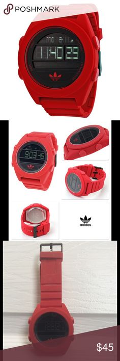 Adidas ADH2909 Black Red Santiago XL Digital Watch Great watch! Used only a few times! Comes from a pet/smoke free environment. Adidas ADH2909 Black Red Santiago XL Digital Watch 796483043954  Product Dimensions: 3.5 x 3.5 x 3.5 inches; Ships same or next business day! Adidas Accessories Watches