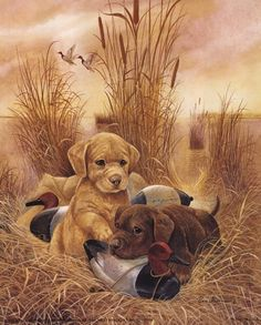 """Awesome """"labrador pups"""" detail is offered on our website. Take a look and you wont be sorry you did. Lab Puppies, Cute Puppies, Cute Dogs, Baby Animals, Cute Animals, Puppy Drawing, Hunting Art, Wildlife Art, Dog Art"""