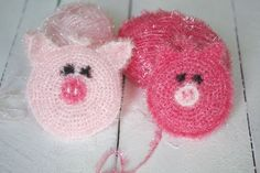 Crochet Patterns Dishcloth And more bubbles (sponges) NO: 2 Creative Comments, Creative Bubble, Crochet Pig, Fabric Scraps, Easter Crafts, Diy And Crafts, Craft Projects, Crochet Patterns, Bubbles