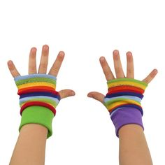 Toddler Arm Warmers in Rainbow Stripes  Mismatch by mirabeans
