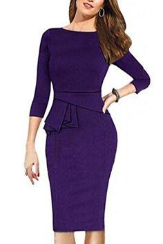 Viwenni Womens Vintage Cocktail Party Tunic Sheath Pencil work to wear Wedding Dress (XX-Large, Purple). S£ºBust/82cm Waist/68cm Hip/86cm Length/96cm. M£ºBust/86cm Waist/72cm Hip/90cm Length/98cm. L£ºBust/92cm Waist/78cm Hips/96cm Length/99cm. XL£ºBust/100cm Waist/86cm Hip/104cm Length/100cm. XXL£ºBust/110cm Waist/96cm Hip/114cm Length/101cm.