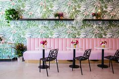 to California — The Pink House - Murales Pared Exterior Architecture Restaurant, Restaurant Design, Matcha Bars, Cafe Interior, Interior Design, Pink Cafe, Green Cafe, Deco Rose, Tea Cafe