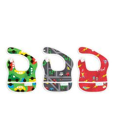 This Green & Red Traffic & Kapow Bib Set is perfect! #zulilyfinds