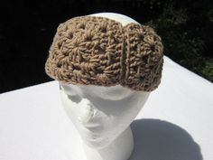 Crochet Headband Light Brown Headwarmer Granny Square Earwarmer Unisex Headband by Crocheted by Charlene (11.00 USD) by crochetedbycharlene