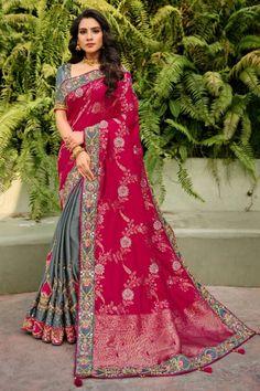 Latest Rani Pink Color Embroidered Banarasi Silk Saree With Blouse #banarasisaree #indiansarees #sarees #weddingsarees #dress #indiandress #womensfashion #clothes #diyandcrafts #lifestyle #sareestyle #wedding #silksareeblousedesigns #silkweddingdress Grey Saree, Silk Saree Blouse Designs, Soft Silk Sarees, Looks Chic, Traditional Sarees, Banarasi Sarees, Pink Grey, Pink Color, Half Saree
