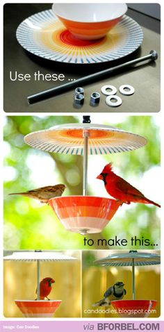 DIY Bird Feeder. Drill and drill bit, Bowl and Plate (mine came from Target at less than $2 each), Large carriage bolt (or eye bolt), Three washers, Three nuts, Glue (I like to use CA glue), Nylon cord. [Link corrected to original source @ Erin's Creative. -UDG]