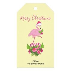 Pink Flamingo in Santa Hat Whimsical Christmas Gift Tags Christmas Gift Tags, Holiday Cards, Merry Christmas, Whimsical Christmas, Custom Ribbon, Old Newspaper, Personalized Gift Tags, Pink Flamingos, Santa Hat
