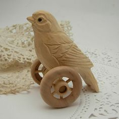 hand carved bird on wheels by bisbeebliss on Etsy Whittling Wood, Handmade Wooden Toys, Buy Wood, Wood Toys, Bird Art, Wood And Metal, Arts And Crafts, Kids Crafts, Really Cool Stuff