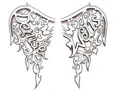 Angel Wings Tattoo design by Denise A. Wells by ♥Denise A. Wells♥, via Flickr