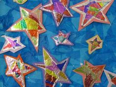 """Ideas for crafts and writing projects based on books by Eric Carle, I absolutely love the idea of coloring with markers on tin foil to make stars to accompany reading Carle's """"Draw Me a Star"""" book. Kindergarten Art, Preschool Art, Preschool Themes, Stars Craft, Eric Carle, To Infinity And Beyond, Art Activities, Sequencing Activities, Art Classroom"""