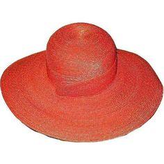 1980s Vintage Hat Holt Renfrew Dark Orange Wide Brimmed ($80) found on Polyvore