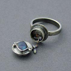 Australian Boulder Opal Poison Ring Silver Locket by caroleaxium