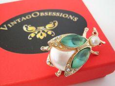 Green Rhinestone Bee Bug Brooch - Green Cabochon Wings - Red Rhinestone Eyes - Faux Pearl Body - Modernist Pin
