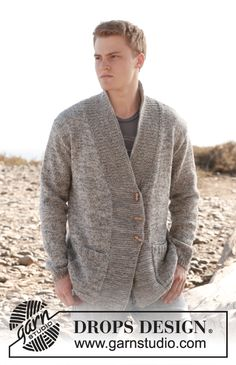 "Beren - Knitted DROPS men's jacket with shawl collar in 2 threads ""Fabel"". Size: S to XXXL. - Free pattern by DROPS Design"