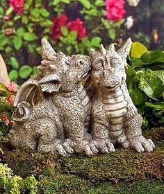 Dragon Garden Statue Sleeping Couple Lawn Patio Yard Decor Fantasy Mythical NEW Fantasy Animal, Fantasy Creatures, Mythical Creatures, Dragon Garden, Dragon's Lair, Dragon Statue, Cute Dragons, Baby Dragon, Colorful Garden