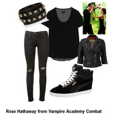 Rose Hathaway inspired outfit (Vampire Academy) by marionstwin on Polyvore featuring rag & bone, Superdry, Puma and Valentino
