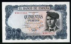 Spain money 500 Pesetas banknote of 1971, Jacint Verdaguer. Description from banknotesgallery.com. I searched for this on bing.com/images