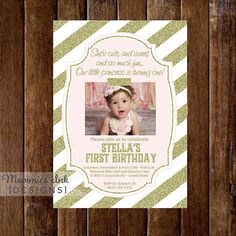 Blush Pink and Gold Glitter First Birthday Photo Invitation by MommiesInk