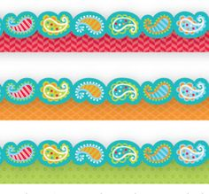 Playful Paisley Border - Add eye-catching flair to bulletin boards, doors, and common areas with this stylish paisley border from the Dots on Turquoise Collection.  Update the look with the Painted Palette borders!  Poppy Red Herringbone, Orange Fancy Scallops and Lime Green Mini Hexagons