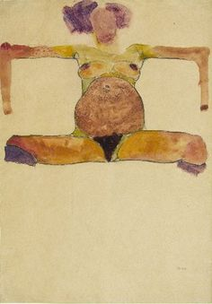 Egon Schiele, Seated Pregnant Nude (1910, watercolor and black crayon, 17⅝″ x 12¼″ [44.8 x 31.1 cm]).  Courtesy Galerie St. Etienne, NY.