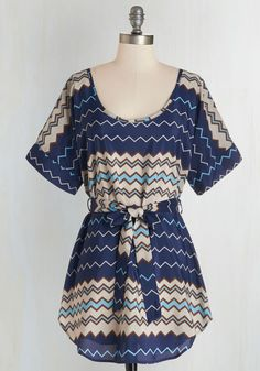 Medium Format Memory Tunic in Navy Zigzag. Zoom in on that group shot to admire yourself in this colorful tunic! #blue #modcloth