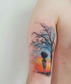 By Victor Octaviano | Brazil | #Watercolor #Tattoo #Tree #Boy #Sunset