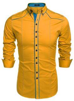 Coofandy Herren Hemden Bügelleicht Business Hochzeit Freizeit Slim Fit Doppelfarbig Hemd Shirt