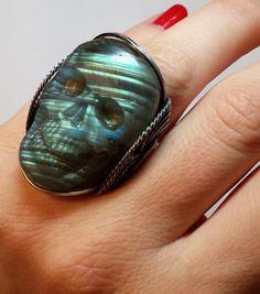Skull Labradorite Ring Hand Carved Gemstone Blue by HardCandyGems