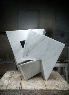 Carrara marble Carved Abstract Contemporary Modern sculpture statue carving sculpture by artist Neil Ferber titled: 'On Edge (abstract Contemporary marble Indoor Carving statuette)'